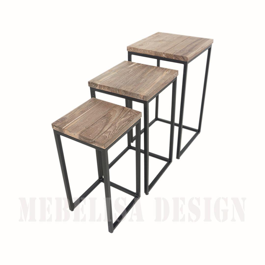 Shoni 3 Piece Nesting Table Recycle Teak Wood