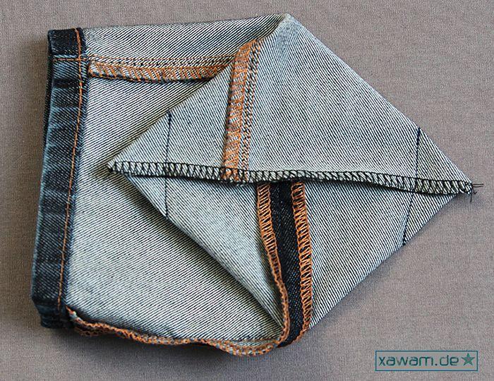 Ich habe gestern noch schnell zwei kleine Mini-Utensilos aus meiner alten Jeans genäht (hatte ich hier  schon mit einer Hose von meinem Sohn... #vieuxjeans