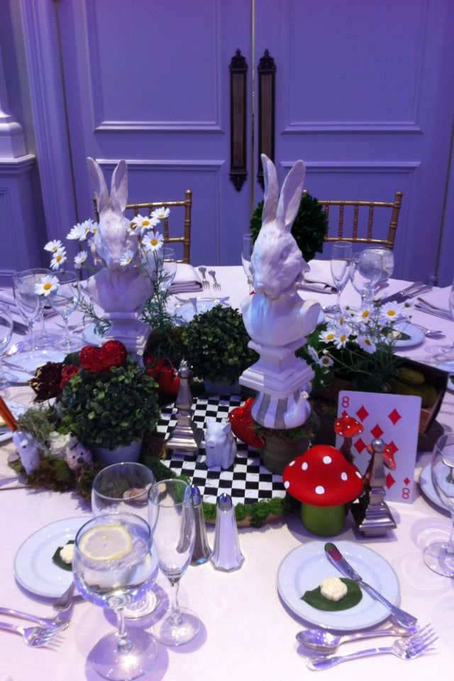 White Rabbit Centerpiece : Alice in wonderland chess board centerpiece