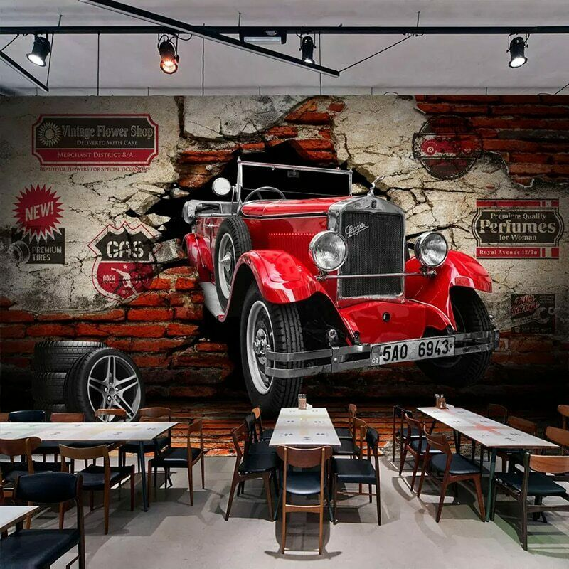 3d Retro Red Car Mechanic Art Wall Mural Wallpaper Garage Shop Bar Cafe Bedroom Cafe Design Vintage Cafe Design Mural Wallpaper