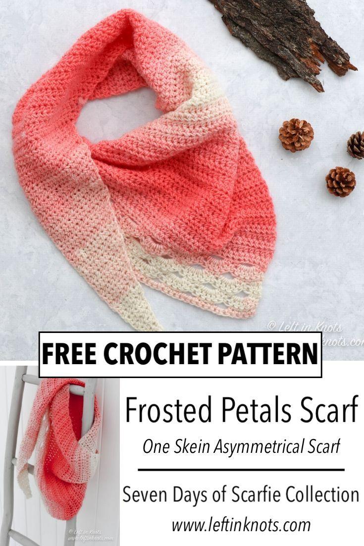Crochet Frosted Petals Asymmetrical Scarf - Free Pattern