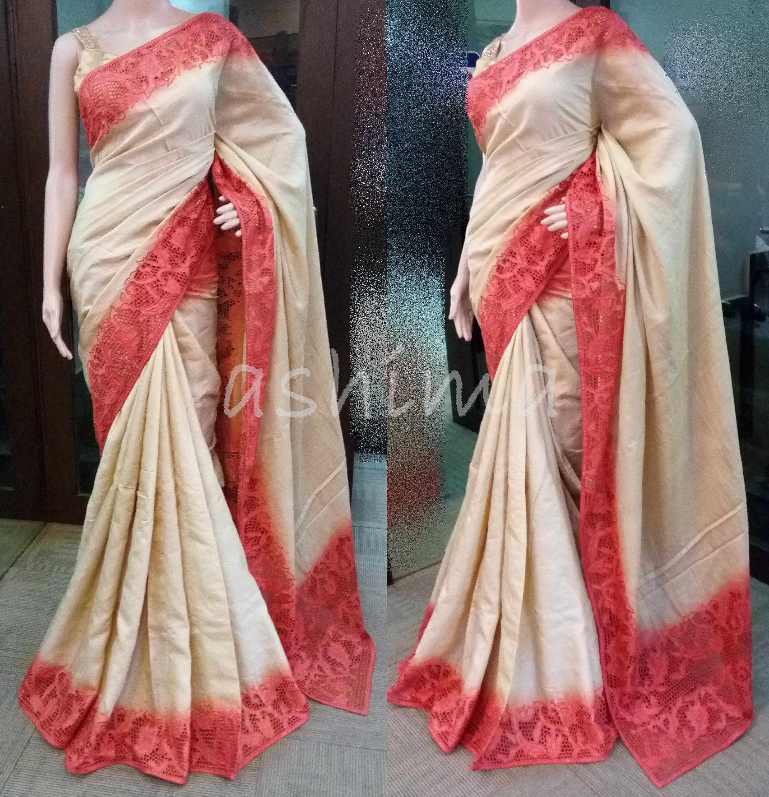 adace54678b21 Code 0907169 - Shaded Tussar Silk saree With Cutwork Border and pallu