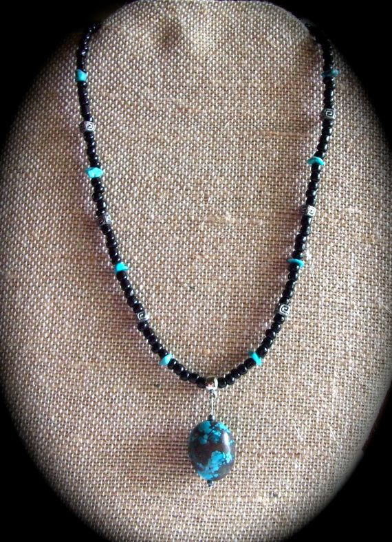 genuine TuRQuOisE Pendant CHOKER necklace Boho by homesteadhippie