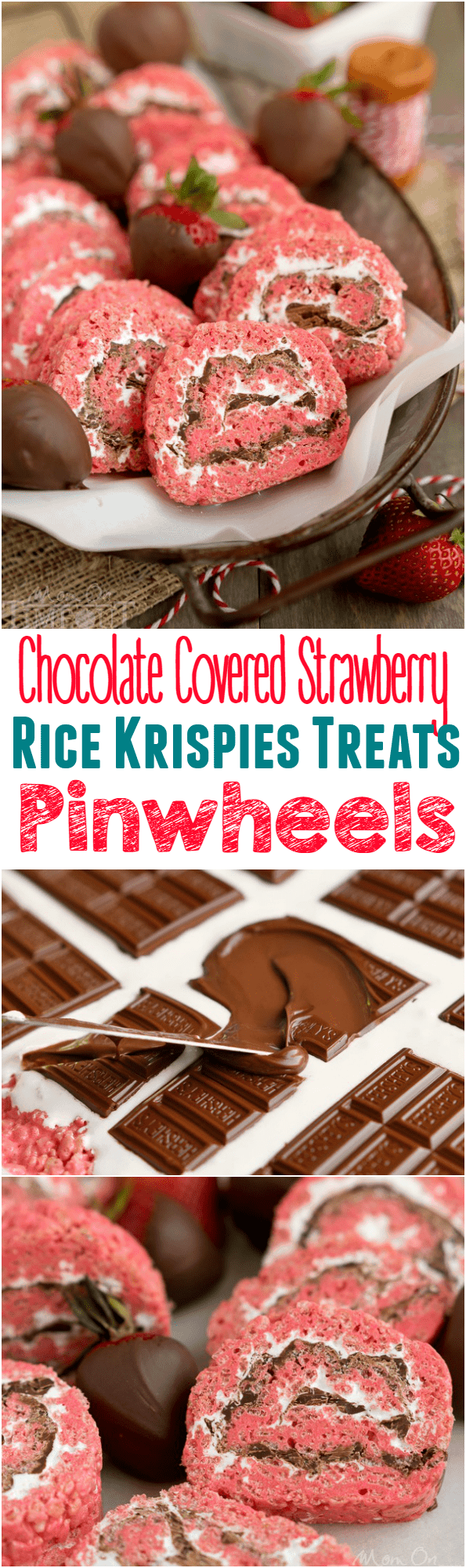 Chocolate Covered Strawberry Rice Krispies Treats Pinwheels are the perfect treat for your next party or picnic! Pretty and pink and so yummy to eat, this easy dessert is guaranteed to become a new family favorite! | MomOnTimeout.com #ricekrispiestreats