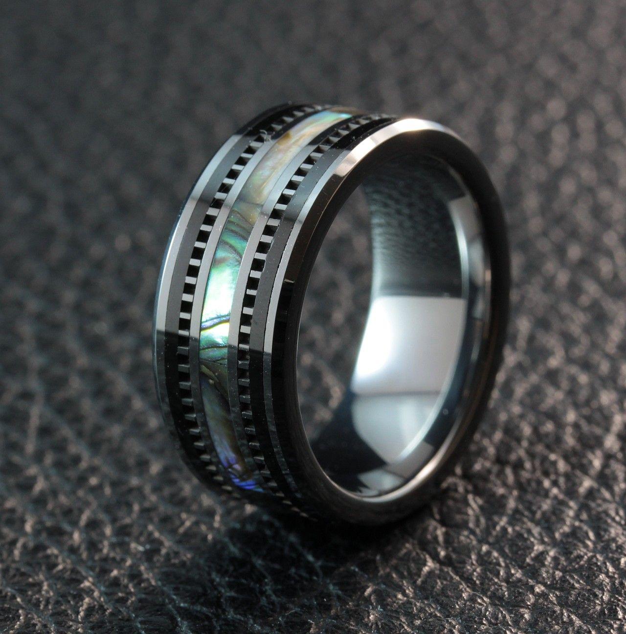Avantgarde Obsidian Tungsten Shell Inlay Ring Tungsten
