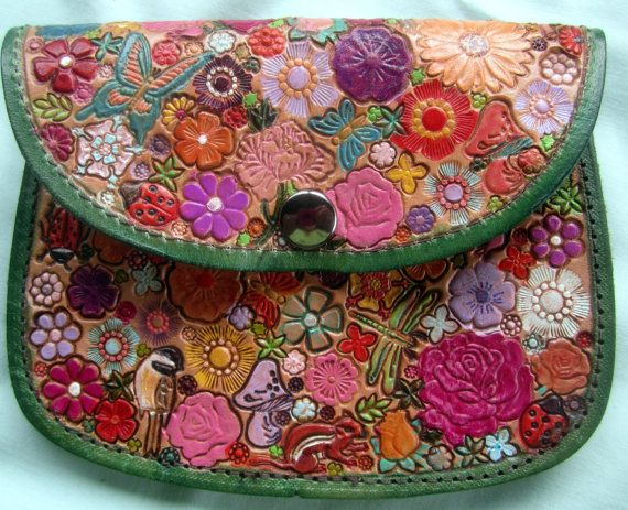 Leather Flower Garden Snap Pouch with  Wide Belt Loop