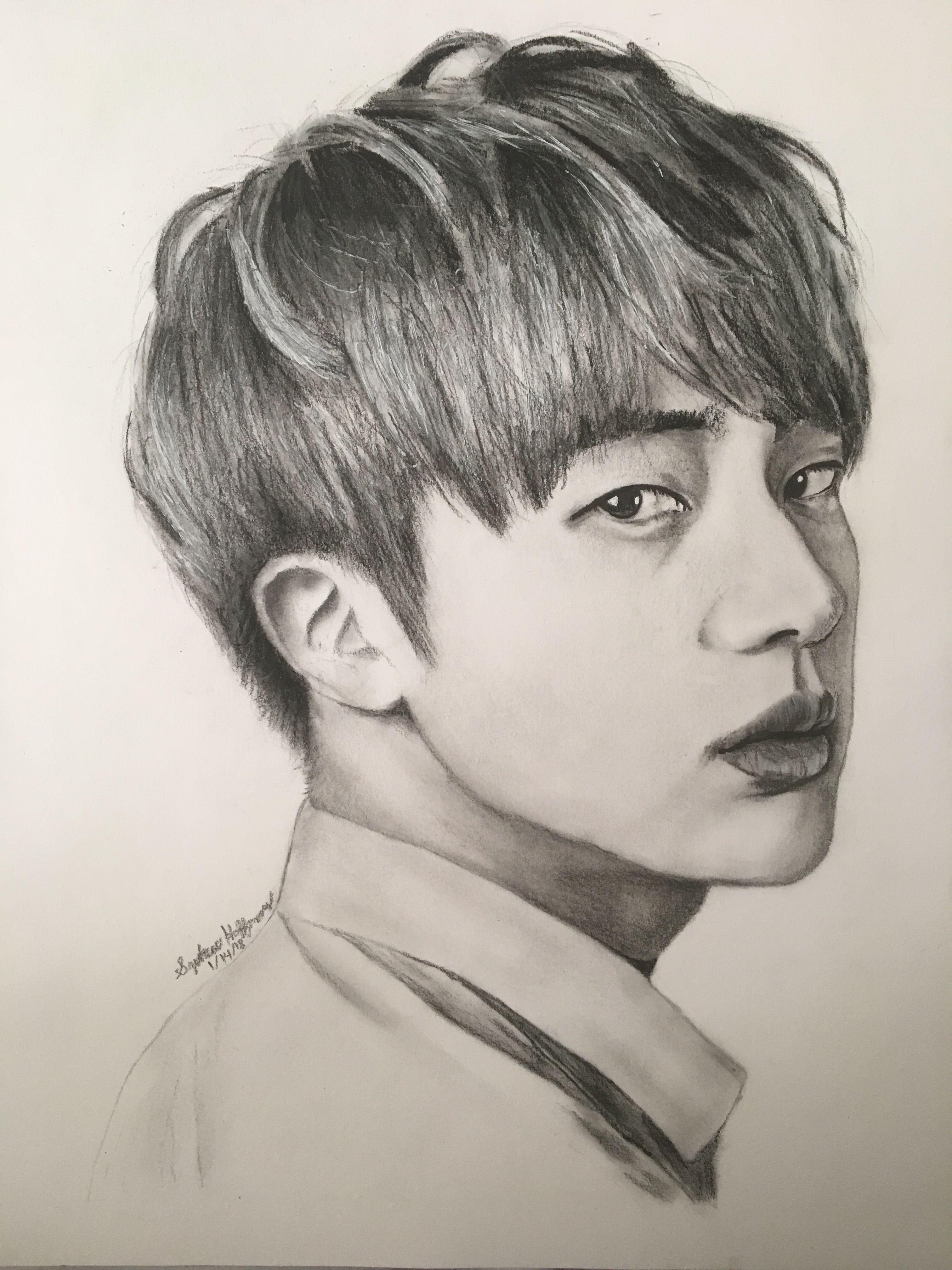 Bts Jin In Charcoal Pencil Dibujos A Lapiz Bts Dibujo Rostros
