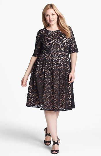 Adrianna Papell Lace Fit Flare Dress Plus Size Available At