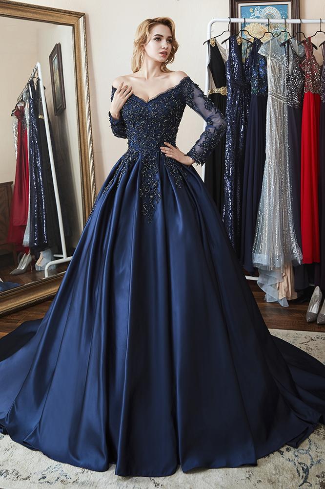46+ Navy blue long sleeve prom dress info