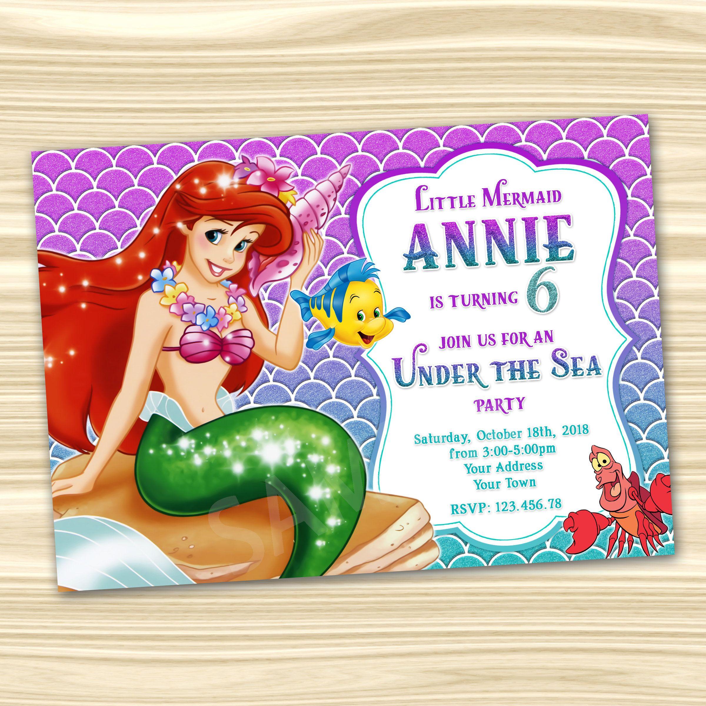 Little Mermaid Invitation Ariel Diy