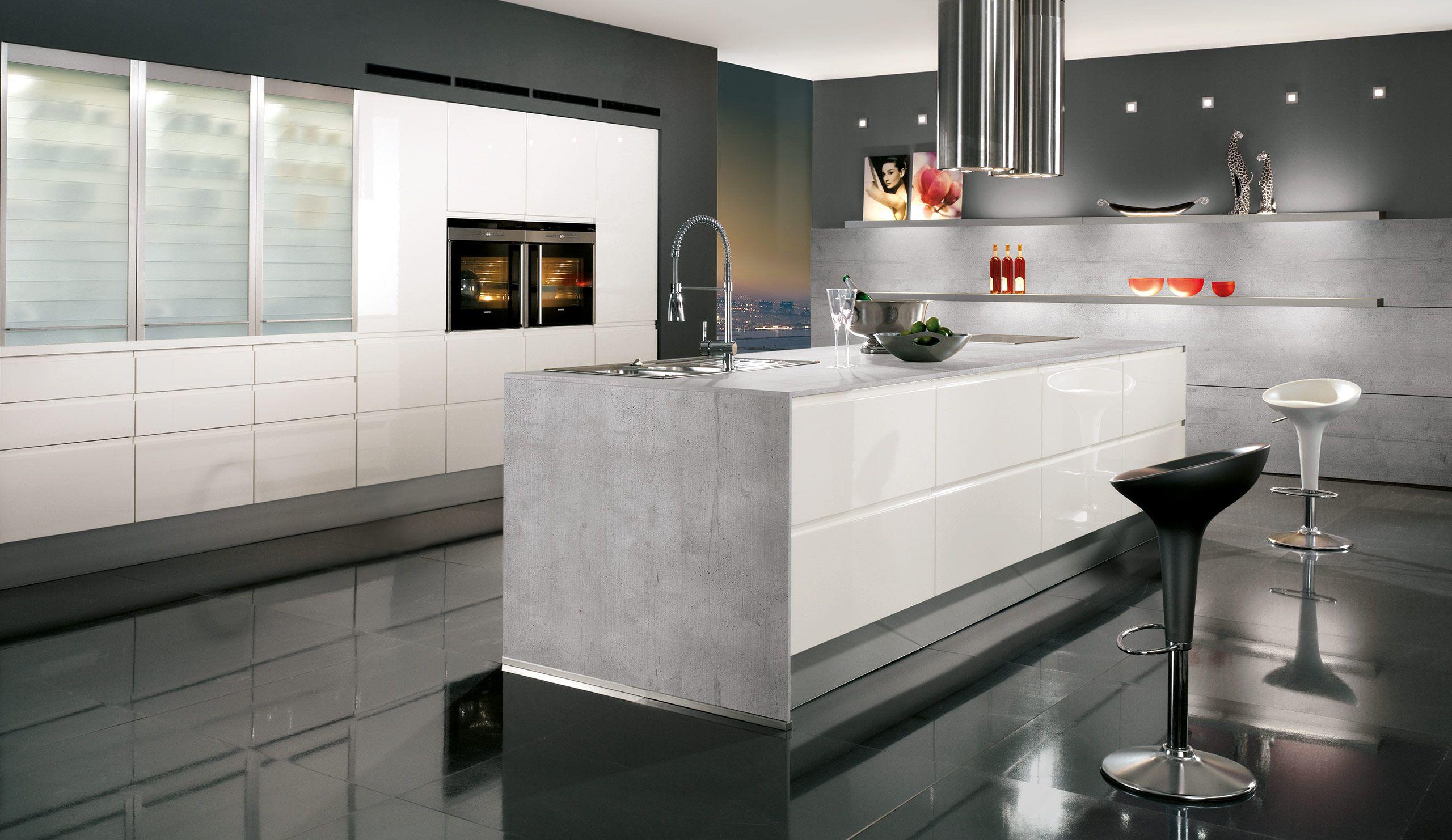 Einbauküche Norina 9917 Weiß Hochglanz Lack | Home - Kitchen ...