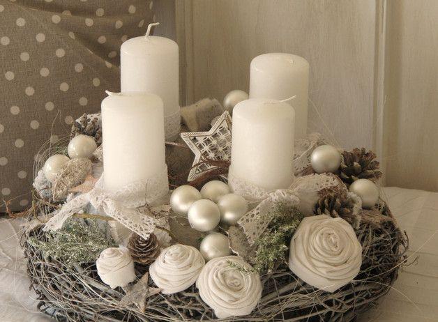 romantischer adventskranz white vintage dreams der. Black Bedroom Furniture Sets. Home Design Ideas