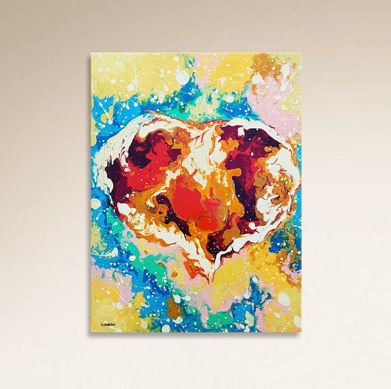 ABSTRACT Canvas Art Heart Painting Wall Decor by hjmArtGallery