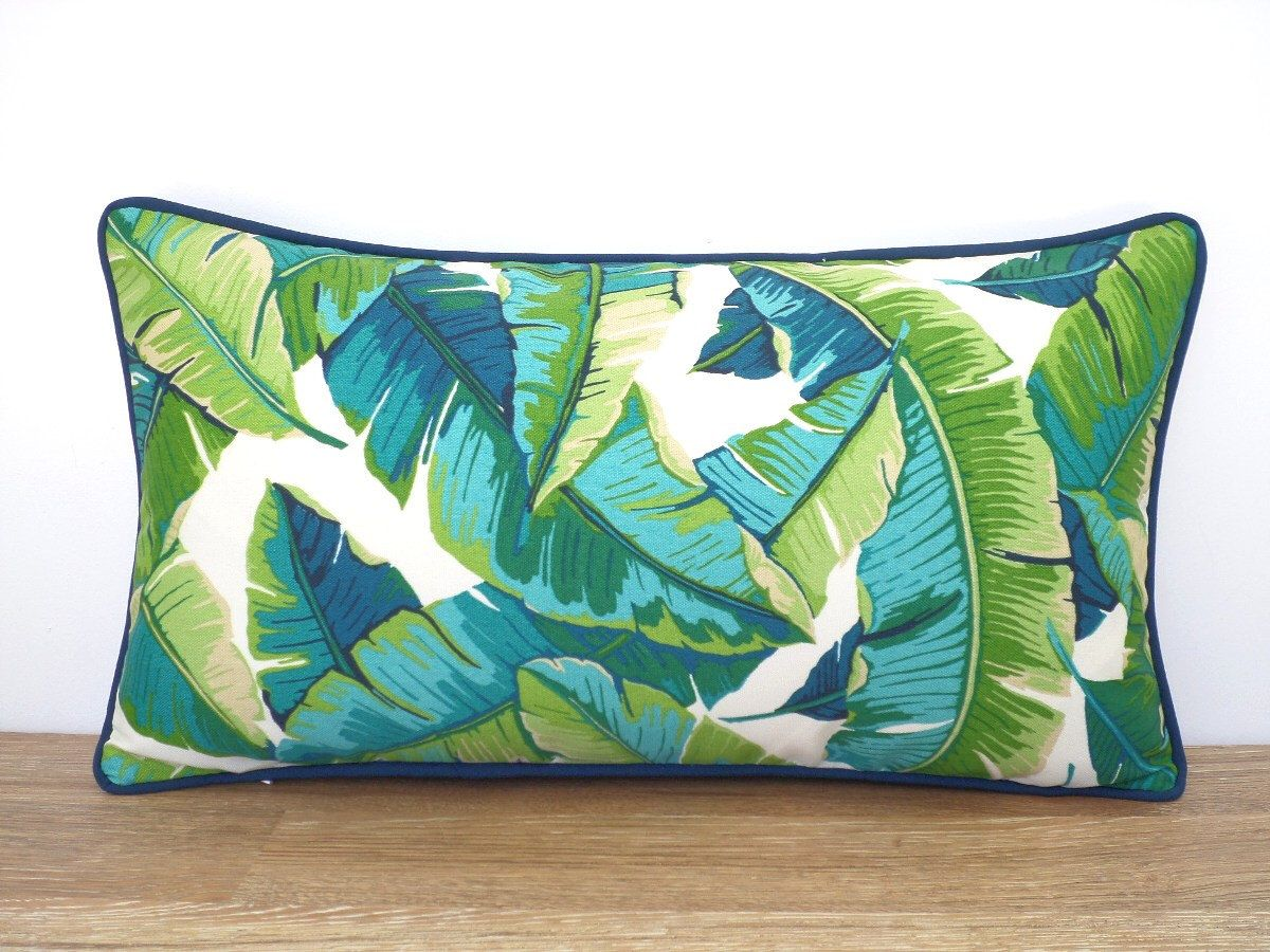 Banana Leaf Pillow Cover 20x12, Green Outdoor Pillow Case Swaying Palm  Leaf, Tropical Cushion Case, Teal Throw Pillow Case Island Decor