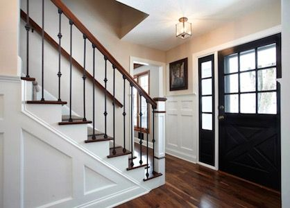 Love The Stairs And Side Glass Along The Doorway I Envision We Could Have A Staircase Like T Colonial Style Homes Center Hall Colonial Colonial House Interior