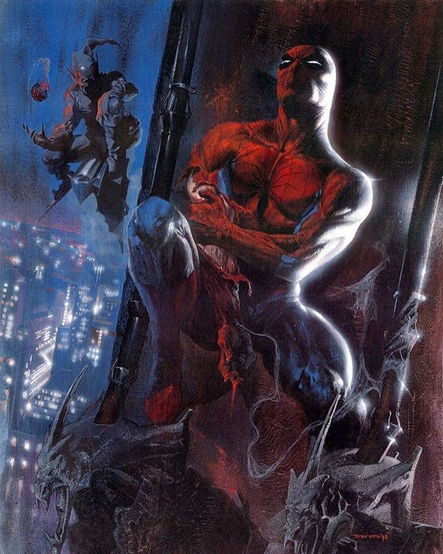 Spider-Man vs Green Goblin!  Artwork by Gabriele Dell'Otto  #spiderman #greengoblin #marvel #marvelcomics #comics #conceptart