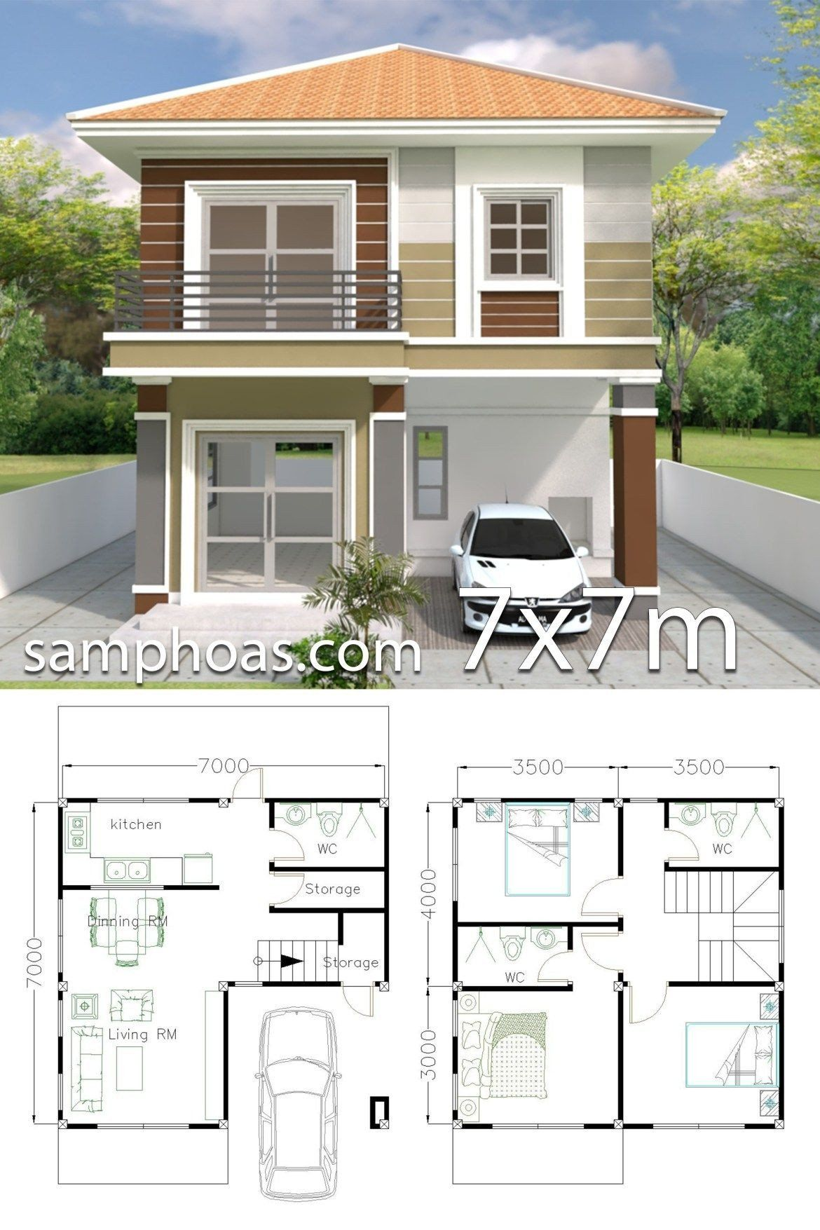 Small Modern House Plans Two Floors Home Design Plan 7x7m With 3 Bedrooms In 2020 Small House Design Plans Small Modern House Plans Duplex House Design