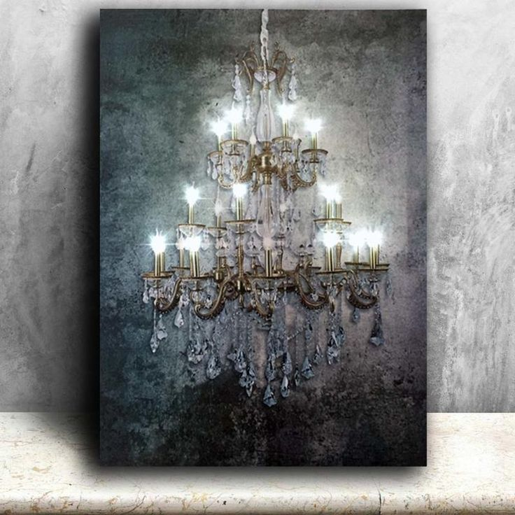 led lighted chandelier stretched canvas wall art mit on canvas wall art id=47769