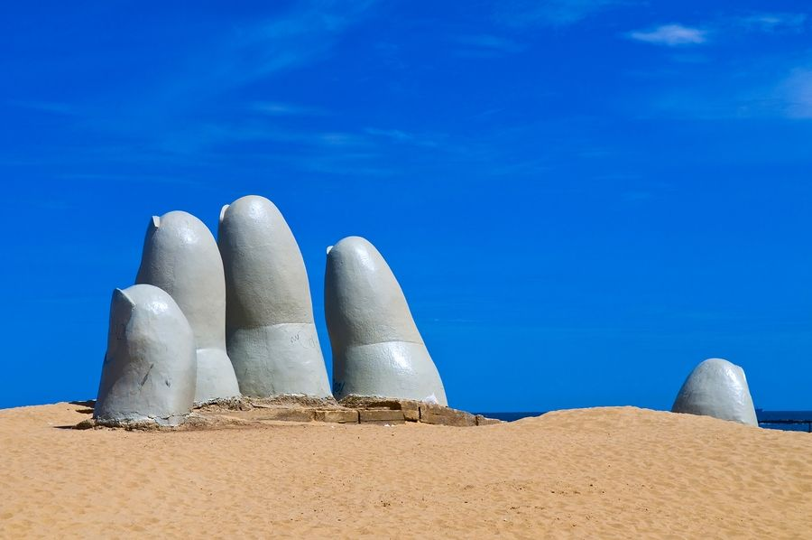 Hand Sculpture In Punta Del Este Beach Resort Uruguay
