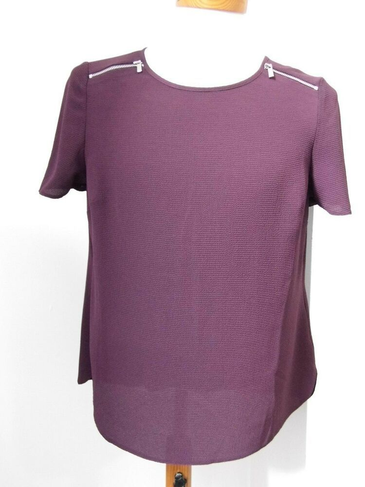 382cb516df63ff DOROTHY PERKINS PETITE Short Sleeved Zip Top Size 12 Burgundy (New)  #fashion #