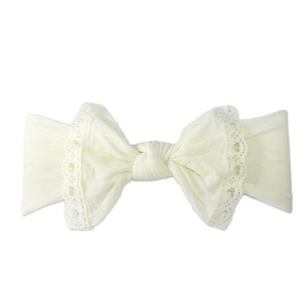 Trimmed Classic Knot Ivory Lace With Images Baby Bling Bows Knotted Baby Headband Knot Headband