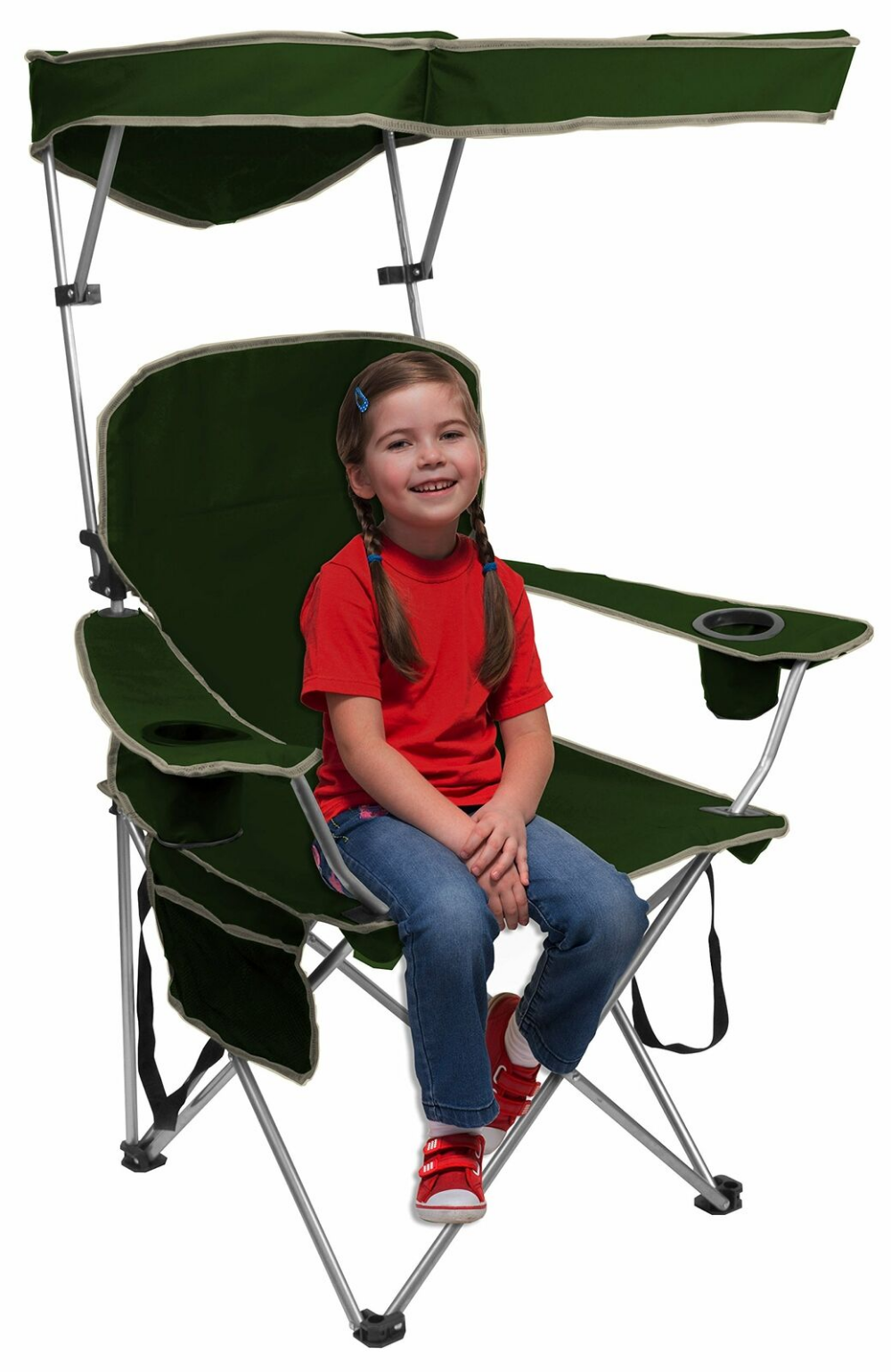 Quik Shade Adjustable Canopy Folding Camp Chair Forest
