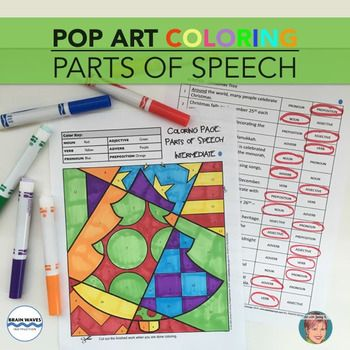 Parts Of Speech Coloring For All Year Fun Art Infused Christmas Activity Parts Of Speech Pop Art Coloring Pages Activities
