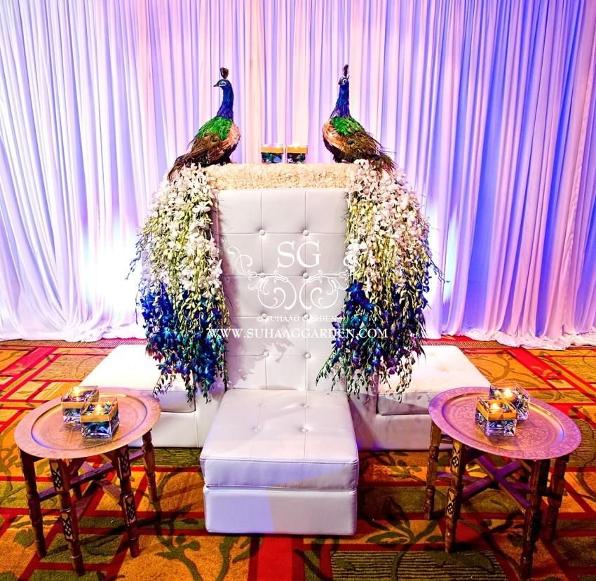 Suhaag garden indian wedding decorators florida wedding decorators event design event decor - Outdoor peacock decorations ...