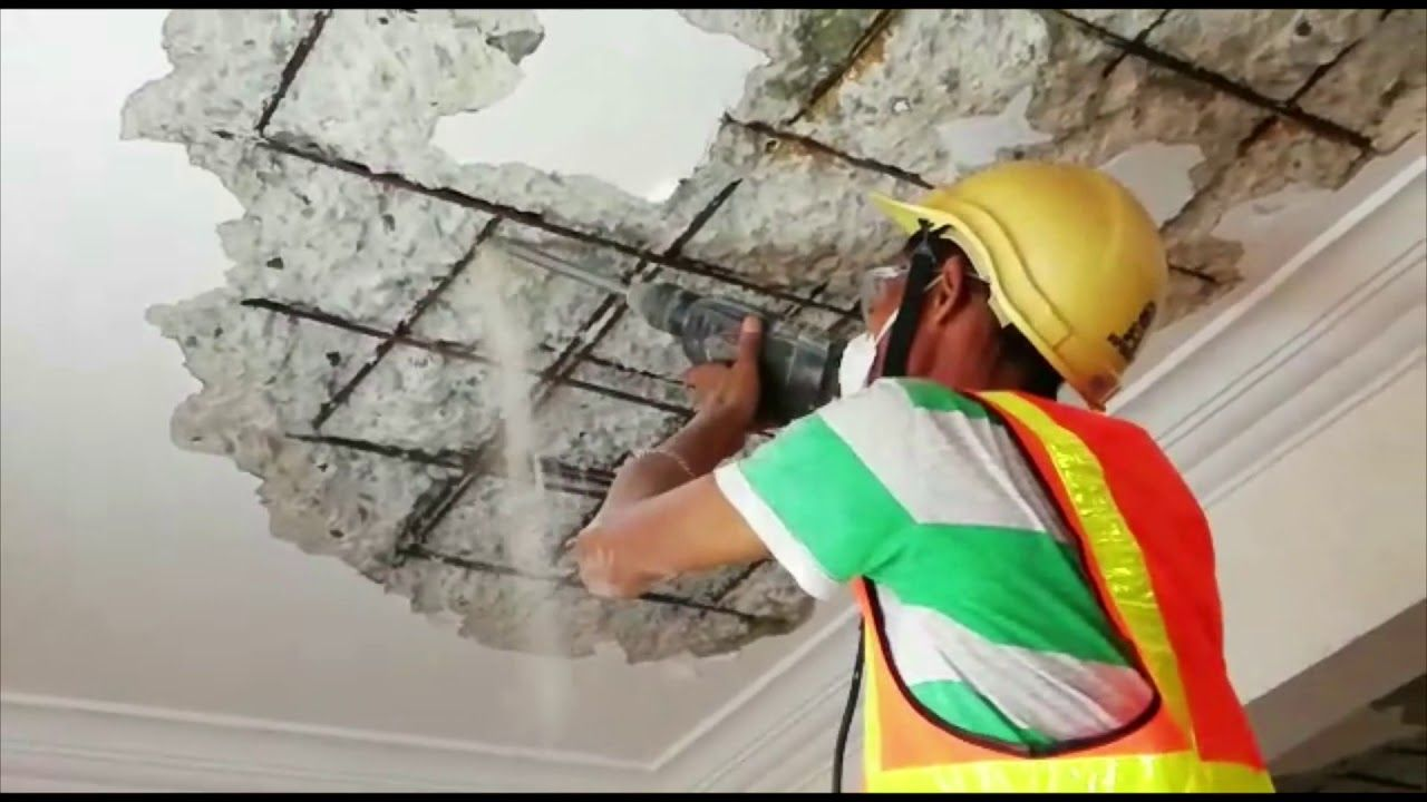 Removing Spalling Concrete Ceiling For Repair Work Youtube Concrete Ceiling Spalling Concrete Repair Ceilings