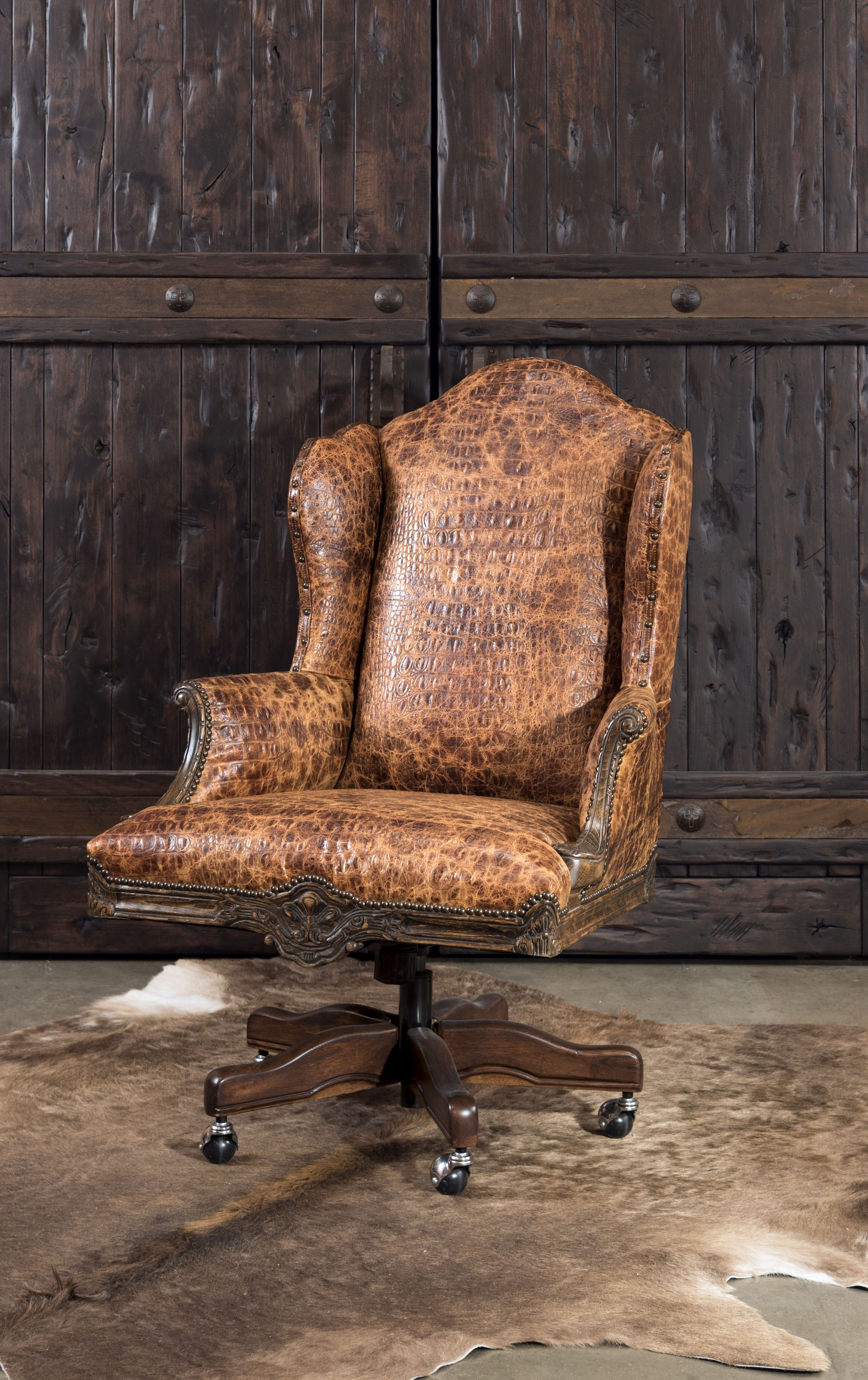 Pin On Classic Rustic Ranch Executive Desk Chairs By Adobe Interiors
