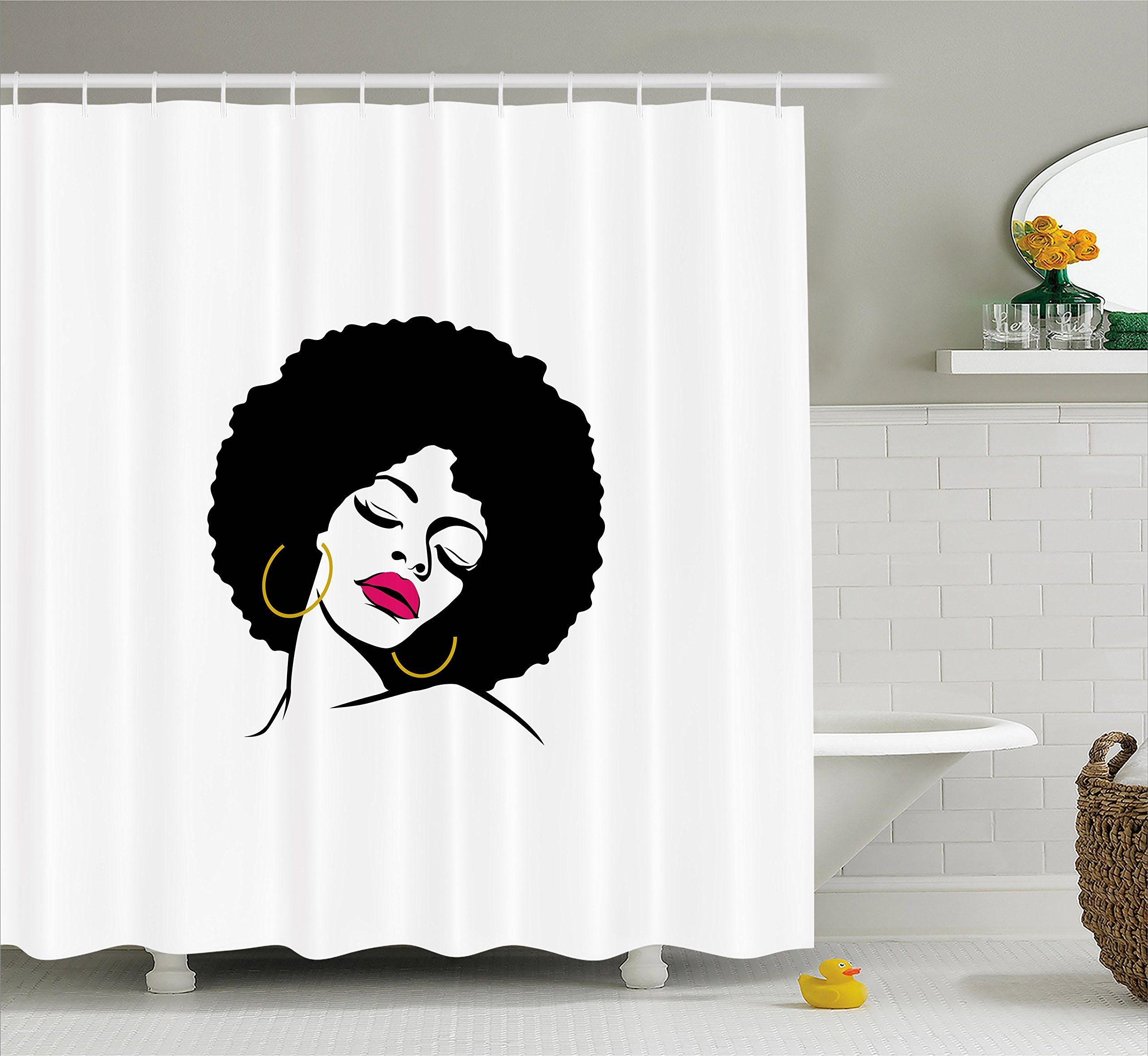 Black Woman Shower Curtain By Lunarable Woman With Afro Hairline