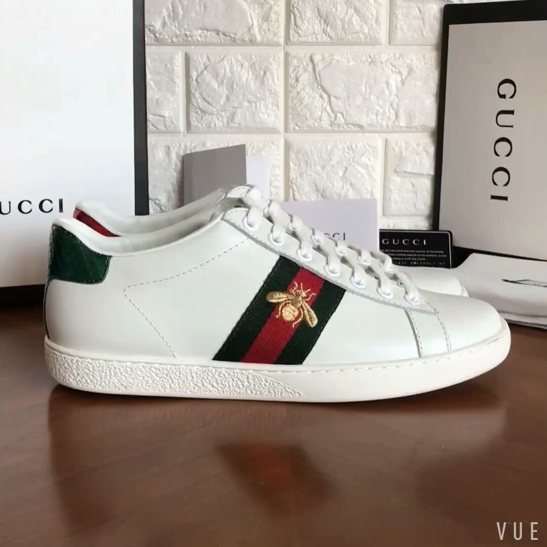 White leather shoes, Gucci ace sneakers