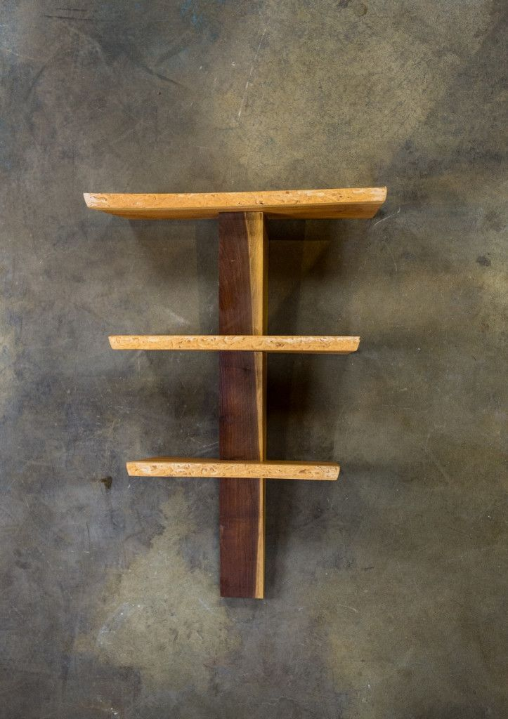 A Beautiful Live Edge Cherry Wood Shelf With Black Walnut Spine Wall Mounted And Hand Rubbed With A 100 Small Woodworking Projects Cherry Wood Wood Crafts Diy