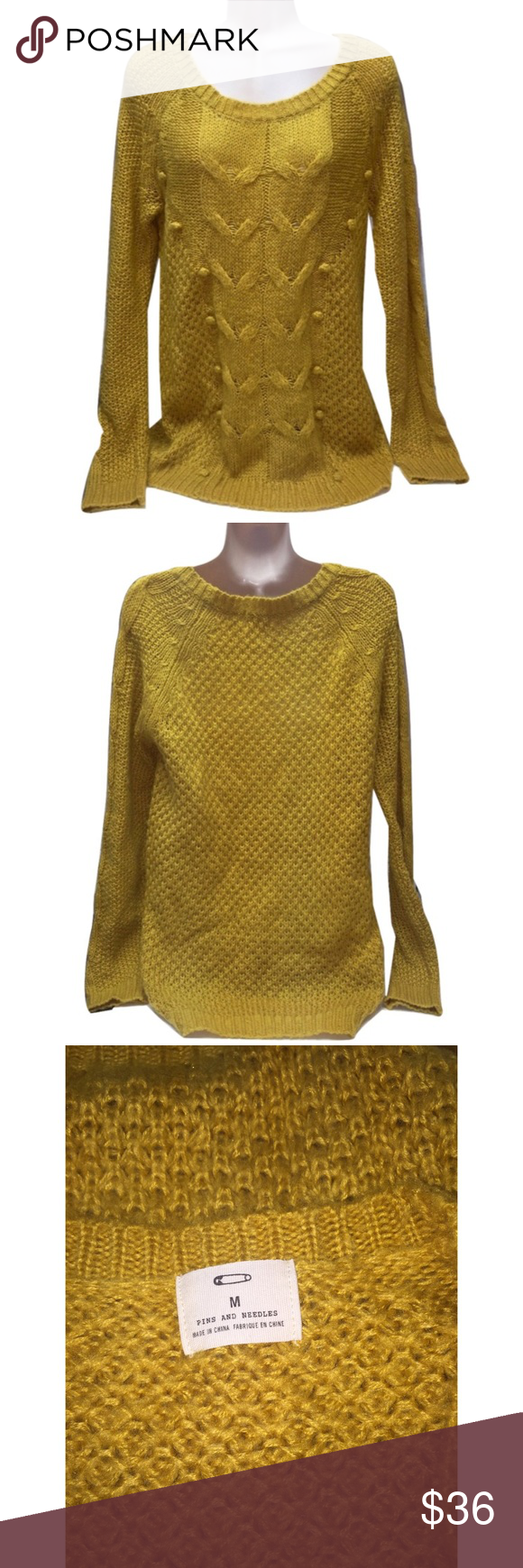 """Pins and Needles Urban Outfitters M Knit Sweater 🔸Pins and Needles Urban Outfitters M Knit Sweater NWOT🔸Size M🔸Mustard yellow color🔸Knitted Pom Pom front🔸Bust 36-40""""-stretchy🔸Sleeve length 27 1/2""""🔸Length 28""""🔸100% acrylic🔸NWOT Urban Outfitters Sweaters"""
