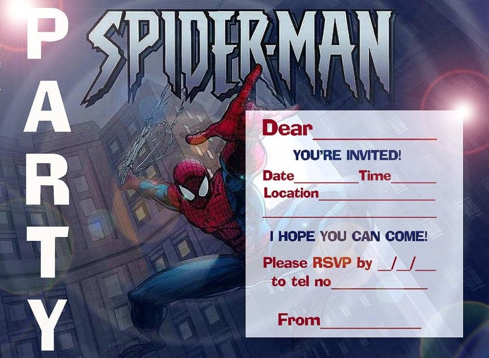 spiderman printable invitation template party invitations in 2018