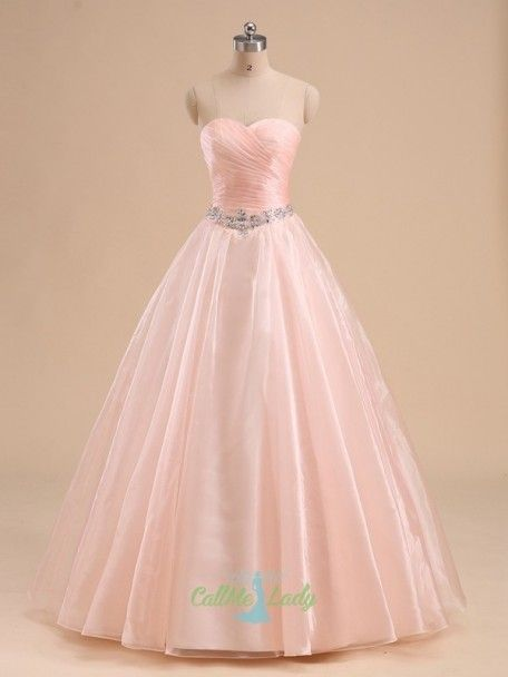 Elegant peach pleats sleeveless long quinceanera dress Ball Gowns