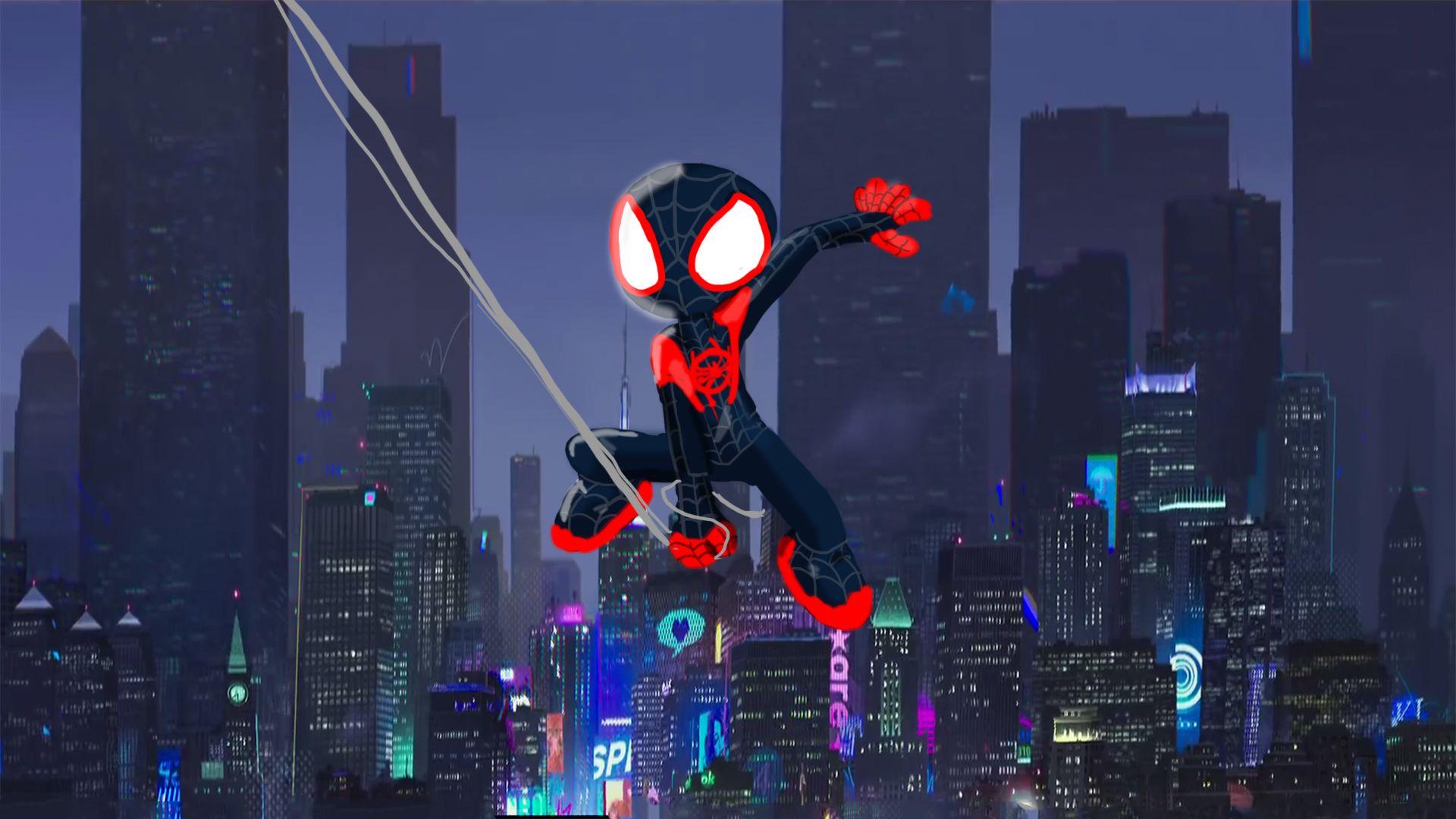 1920x1080 SpiderMan Into The Spider Verse Movie Artwork