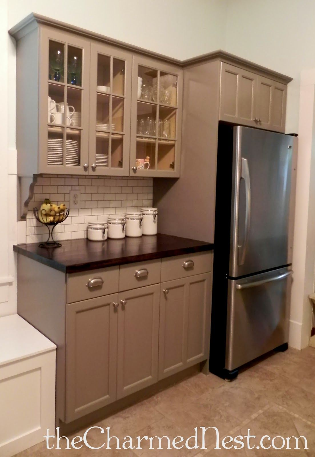 Cabinets painted with Annie Sloan Chalk Paint in French Linen ...