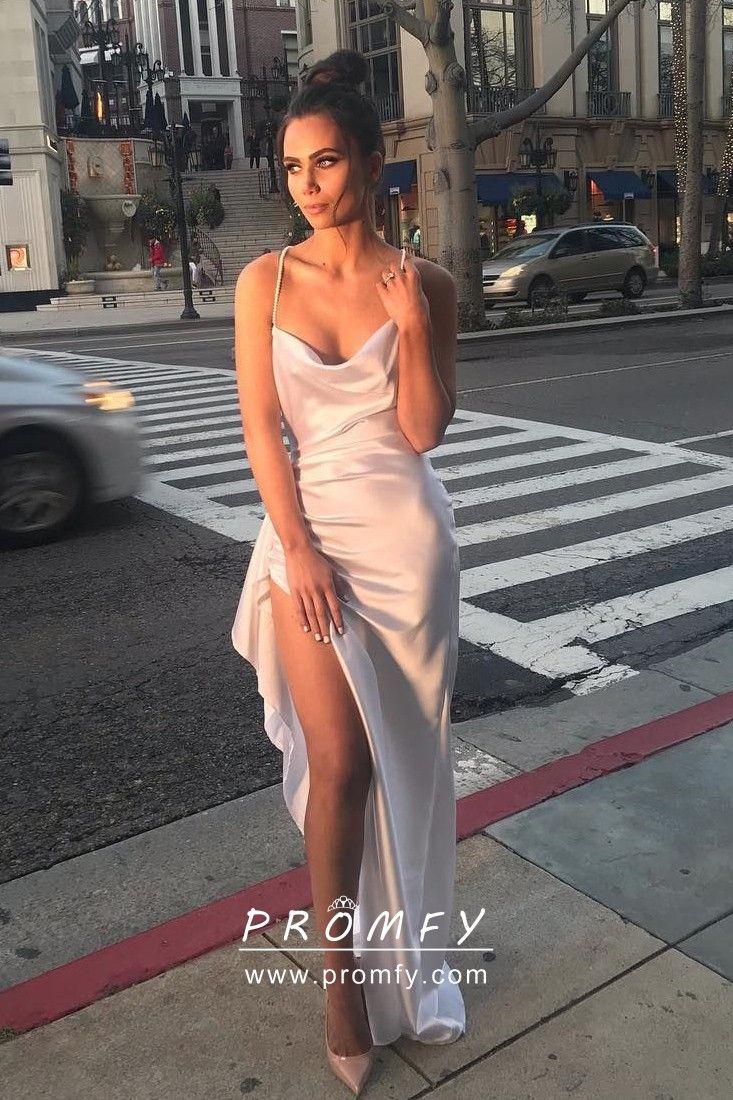 Asymmertical Draped Blush Satin Slit Party Dress