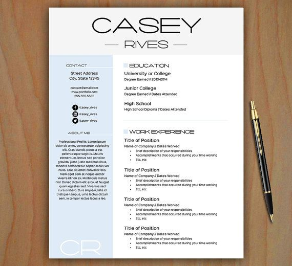 Stylish Resume Template Free Cover Letter by thePrintableEmporium - cover letter for resume template free