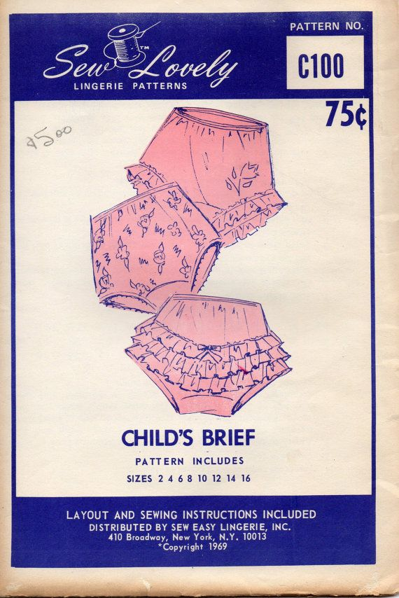 Sew Lovely C100 1960s Childs Panties Pattern Ruffled Briefs size 2 - 16 vintage lingerie sewing pattern by mbchills