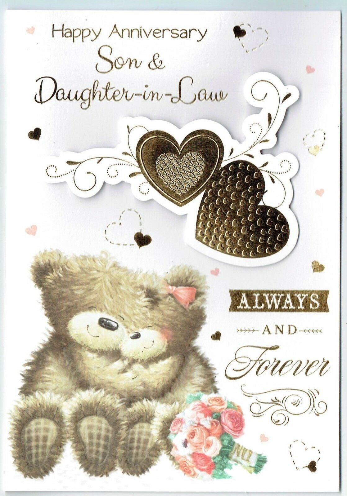 Son Daughter In Law Anniversary Card Cute Teddy Bear Design Cute Anniversary Cards Ideas 2019 Teddy Bear Design Anniversary Cards Anniversary Card For Parents