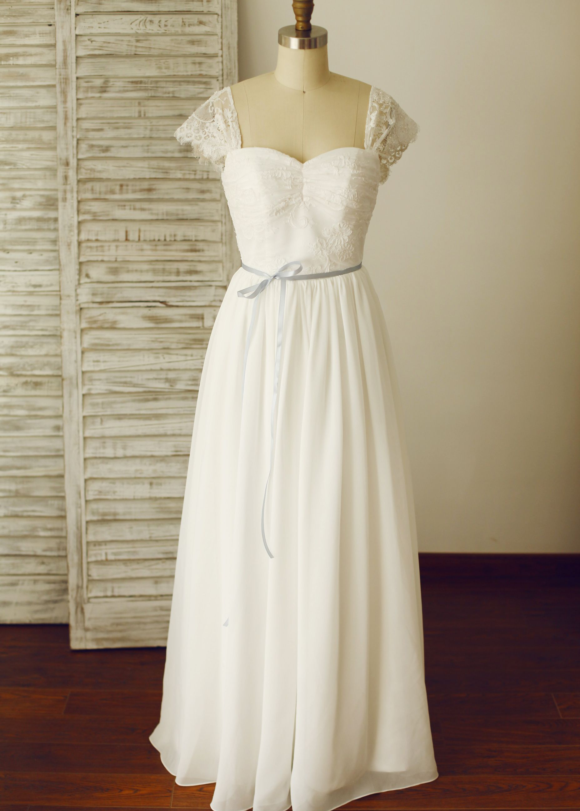 Cap Sleeves Ivory Lace Chiffon Corset Back Wedding Dress