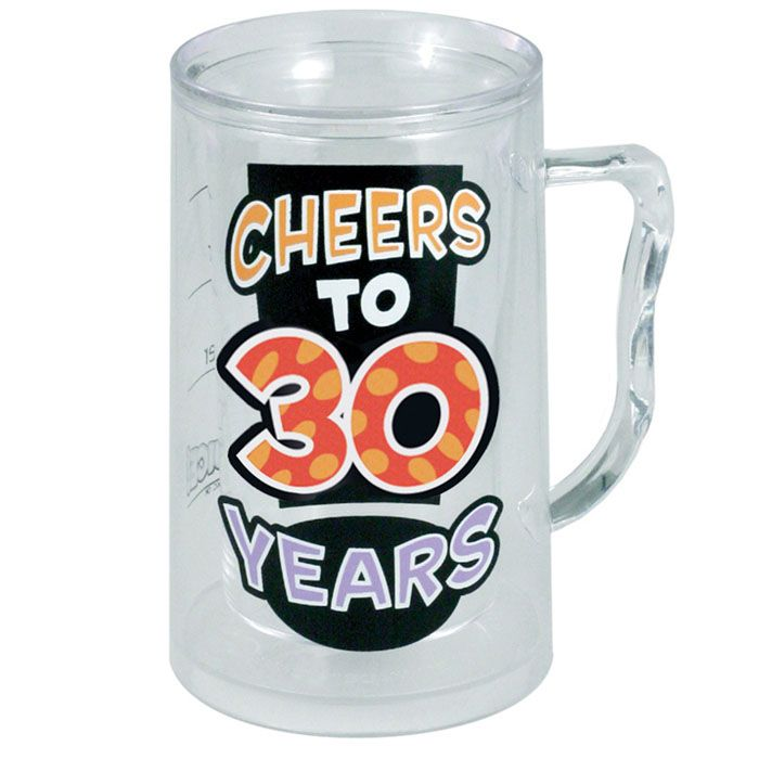 "Cheers ""30th"" Plastic Beer Mug - Party Supplies, Costumes, Favors and More at iParty 