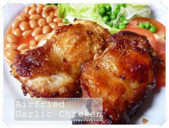 Crispy Garlic Airfried Chicken Chop Marinated With