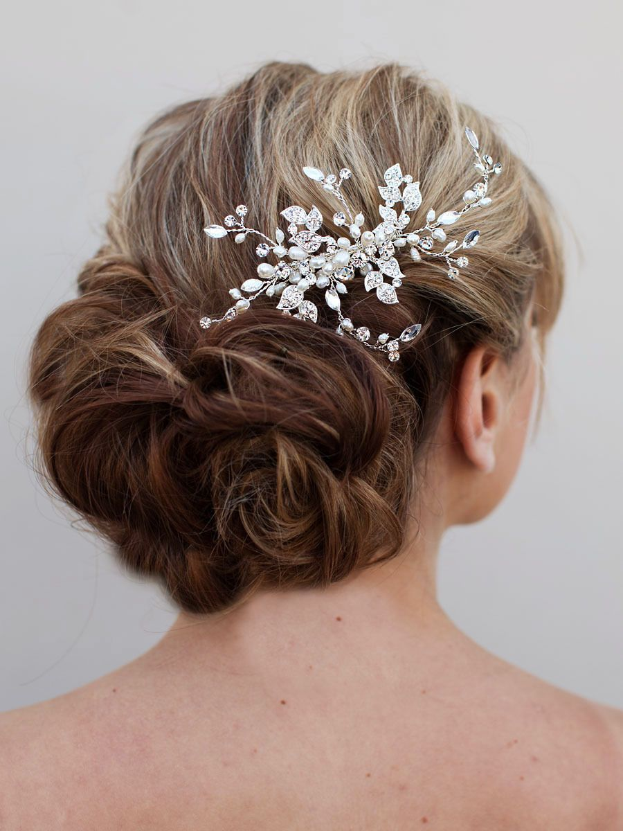 "joyful"" rhinestone and pearl bridal hair comb 