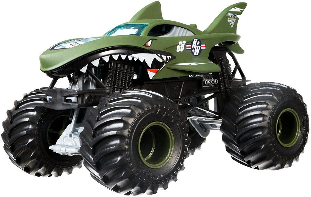 Hot Wheels Monster Jam Shark Shock Die Cast Vehicle 1 24 Scale Hot Wheels Monster Jam Monster Jam Hot Wheels
