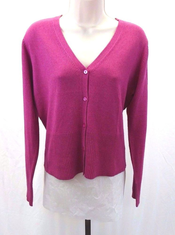 TAIL Fuschia Pink Purple Cardigan Sweater Button Front Women's ...
