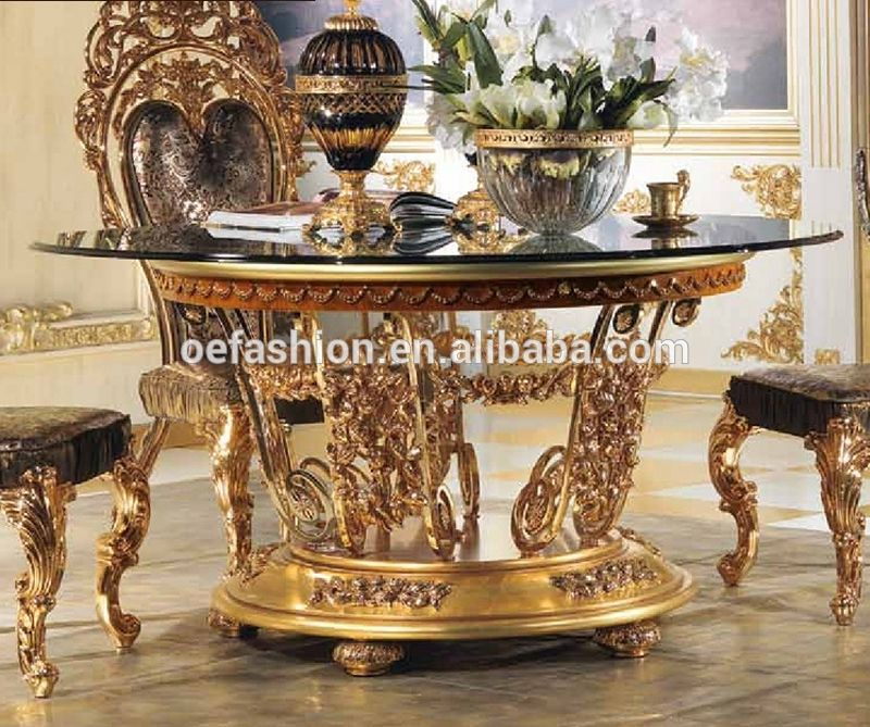 Neoclassical Luxury Solid Wood Hand Carved Dining Room Furniture Gold Color Lazy Susan Round Dining Table View Ro Dining Table Round Dining Table Carved Table