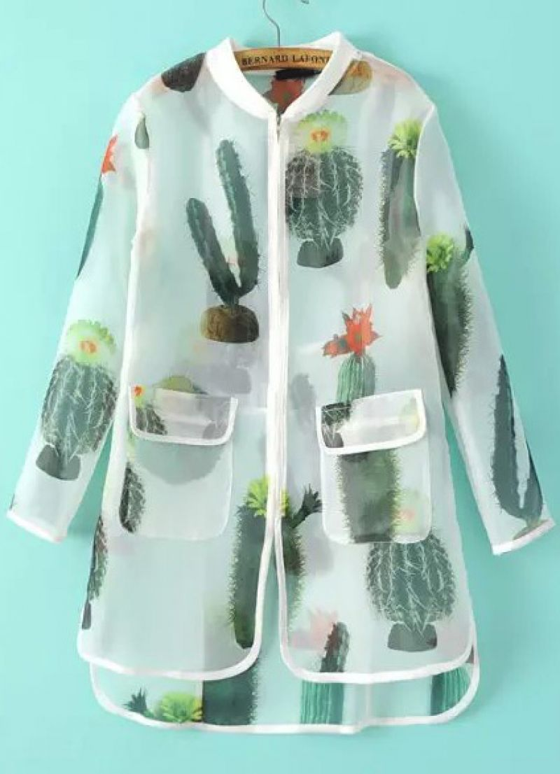 White Long Sleeve Cactus Print Sheer Outerwear